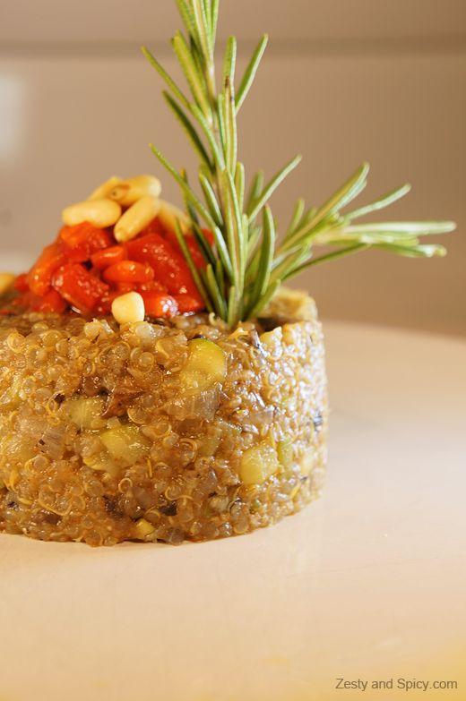 Quinoa Risotto with Portobello Mushrooms & Roasted Pepper Caviar