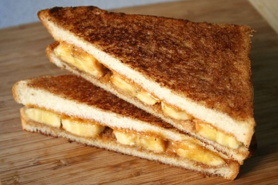 grilled peanut butter banana sandwich.   Delish   Pinterest