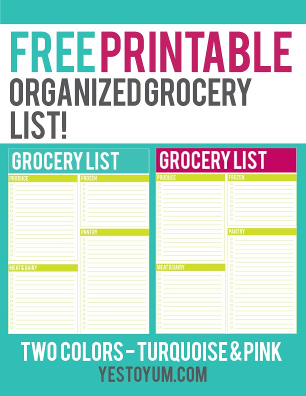 healthy grocery list template printable