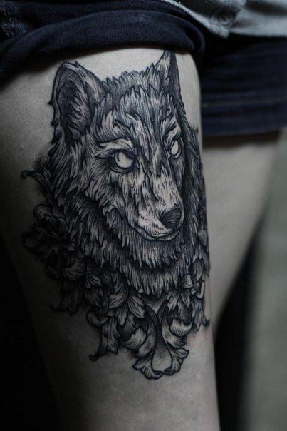 black wolf tattoo - photo #1