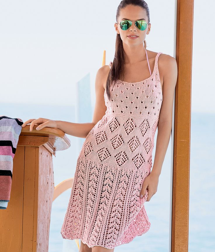 Ажурное вязание спицами платье