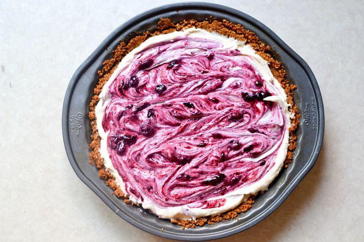 Blueberry Swirl Ice Cream Pie with Hazelnut Crust // Warm Vanilla ...