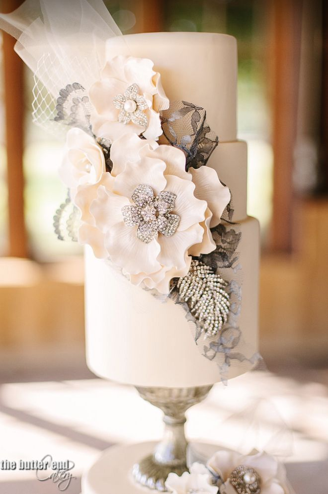 silver & white wedding cake