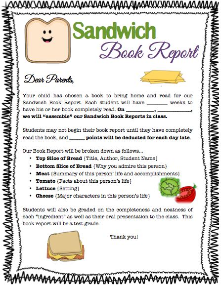 book report sandwich instructions