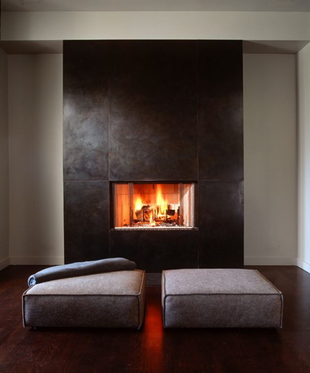 Solid steel clad fireplace fireplaces pinterest for Fireplace accent wall