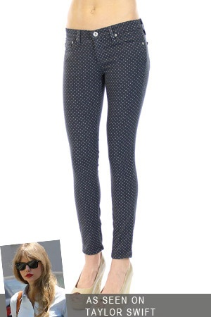 AG Jeans The Super Skinny Ankle Legging in Pin Dot Black--On Sale!