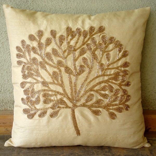 The gold tree silk with bead embroidery cm