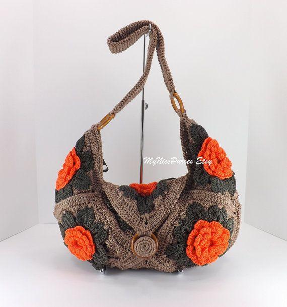 Granny Square Purse : Crochet floral granny square purse, granny squares shoulder bag ...