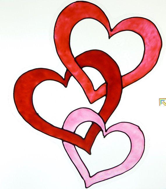 valentine heart window clings