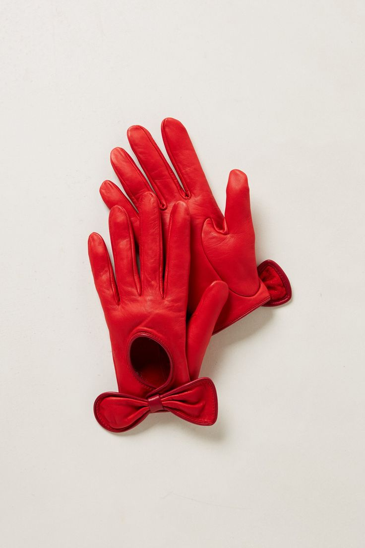 red leather driving gloves with bows just plain old