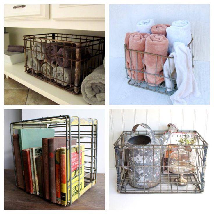 Vintage milk crate ideas deedees vintage pinterest for Decorating with milk crates