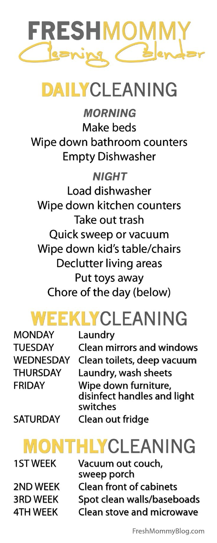 Cleaning Calendar | I really need to start following something like this.