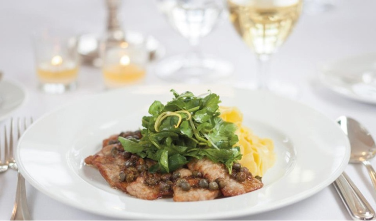Sauteed Veal Scaloppine with Lemon Tagliatelle and Caper Sauce