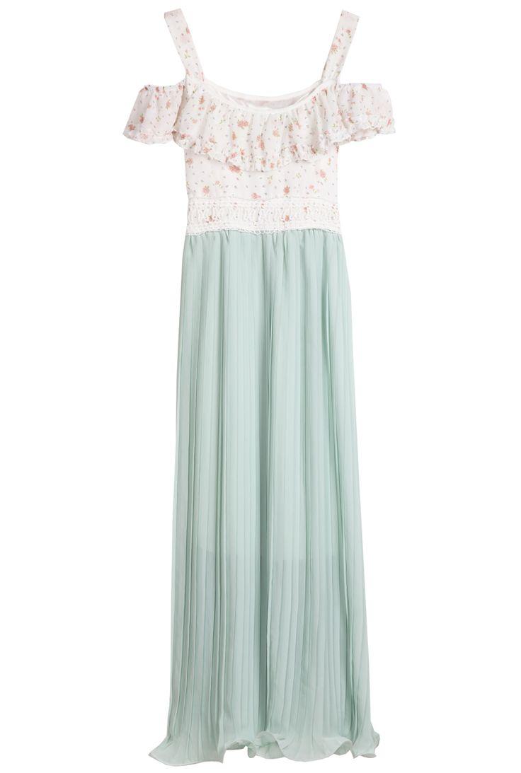 Green Spaghetti Strap Floral Pleated Chiffon Dress - Sheinside.com