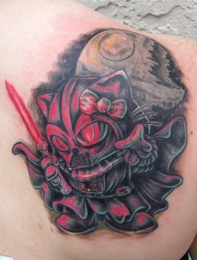 #InkedMag #Tattoo of the Day, Hello Vader! #starwars #tattoos #tattooed #art #hellokitty #kitty #darthvader #vader