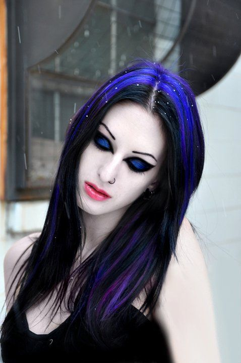black hair with violet and blue streaks awesome hair