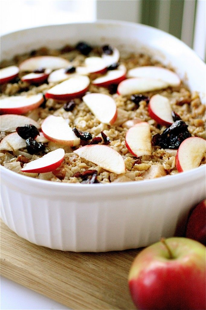 baked apple spice oatmeal. Great idea for brunch!