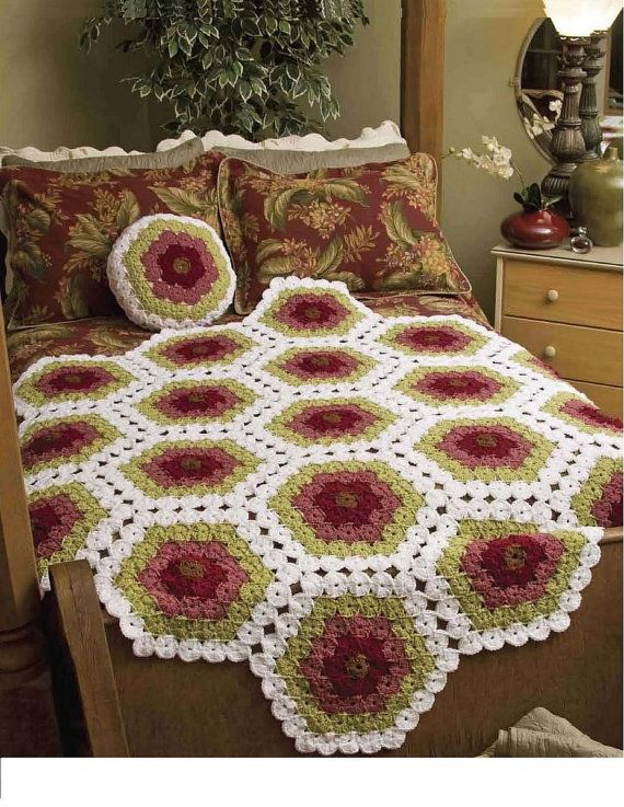 Crochet Patterns Lapghans : Yo Yo Lapghan and Piilow Crochet Pattern PDF Pattern by zizina, $4.50