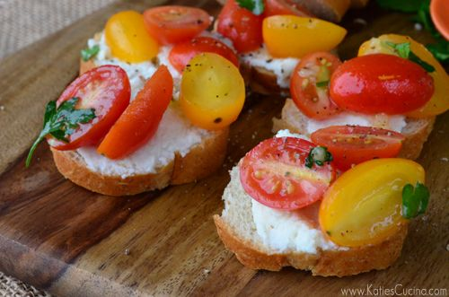 peach tomato and mozzarella crostini roasted garlic tomato soup with ...