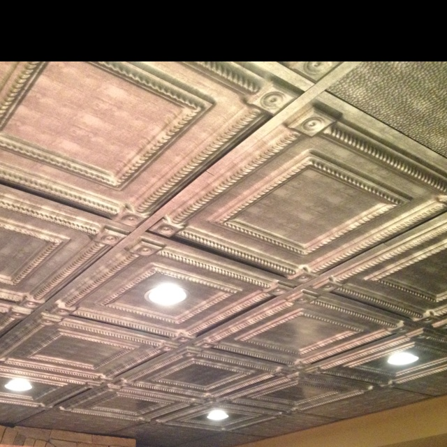 Tin tiles in basement ceiling for the home pinterest - Ceiling tile ideas for basement ...