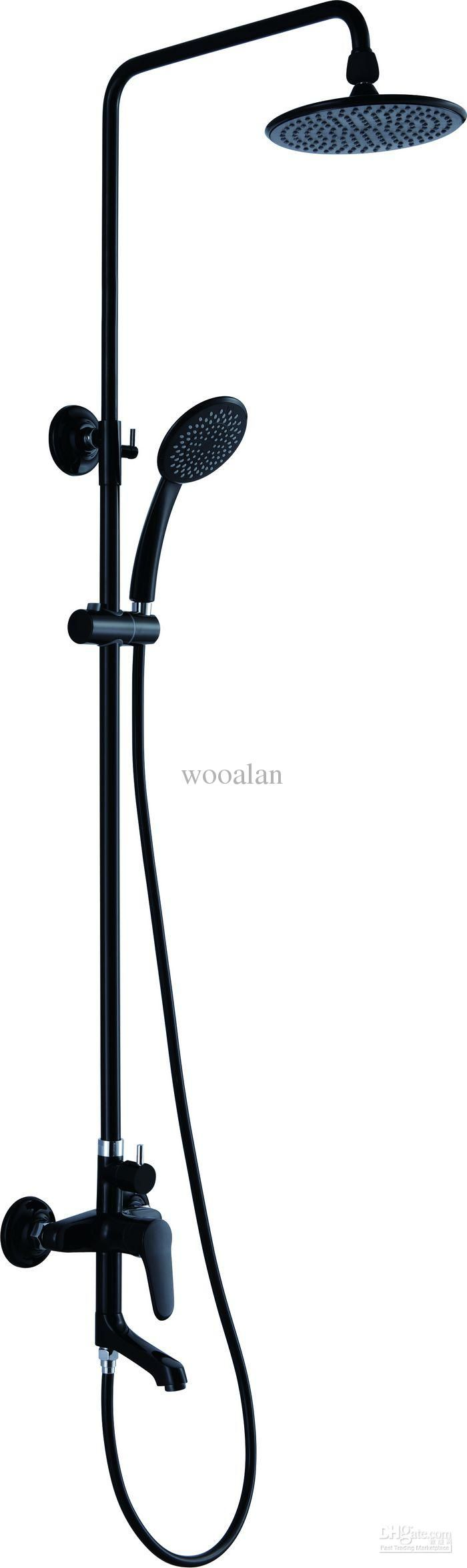 Black Faucets For Bathroom : ... Black Color Exposed Bath And Shower Solid Brass Shower Mixer Faucets