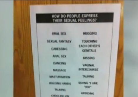 father upset with terms on schools sexual education poster