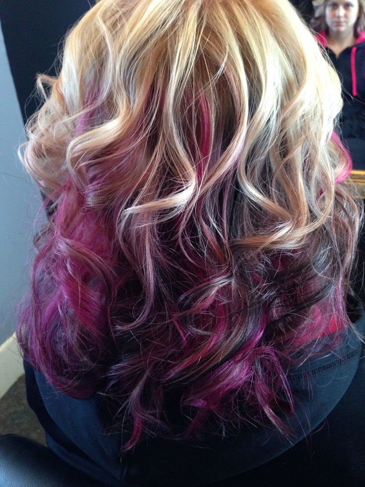 Blonde with pink purple and black highlights love voila