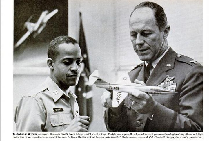 """From Ebony magazine (1965 article """"The Troubles of 'Astronaut' Edward Dwight), we get this hilarious picture of Yeager and Dwight. Caption? Yeager to Dwight: """"Now, we call this an airplane…"""""""