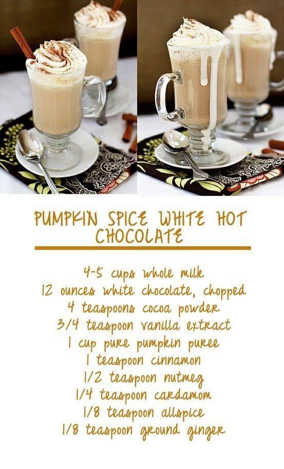 Pumpkin Spice White Hot Chocolate   NOM NOMZ (Recipes)   Pinterest