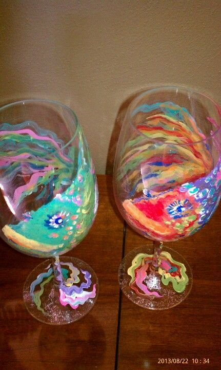 My Painted Acrylic Wine Glasses Painted Wine Glasses