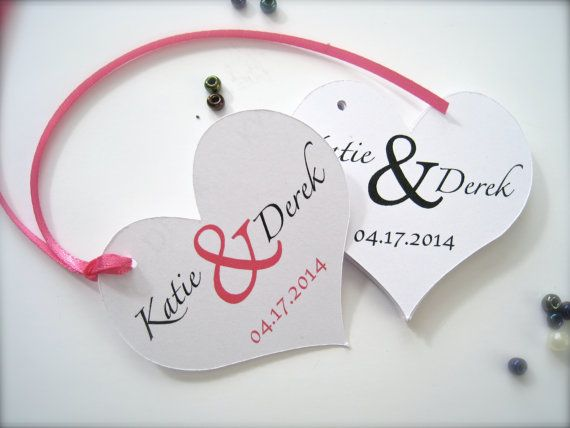 Heart shaped wedding favor tags, heart gift tags, personalized tags