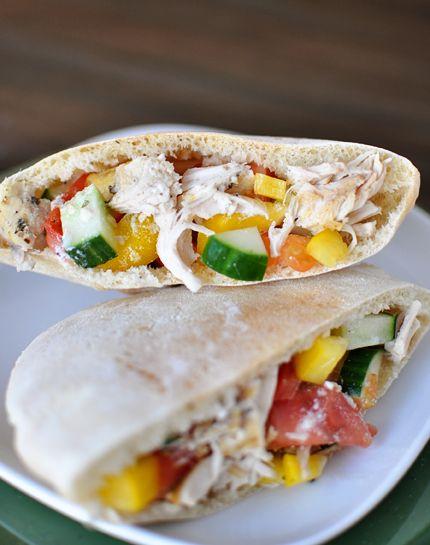 Greek Chicken Pita Pockets {Slow Cooker} | Mel's Kitchen Cafe