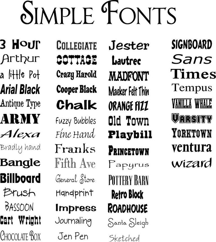 Simple fonts