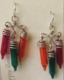Christmas lights as earrings