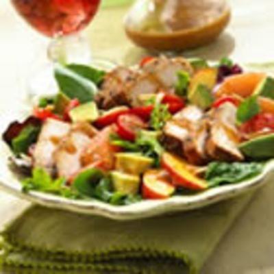 BBQ Pork Salad with Summer Fruits and Honey Balsamic Vinaigrette