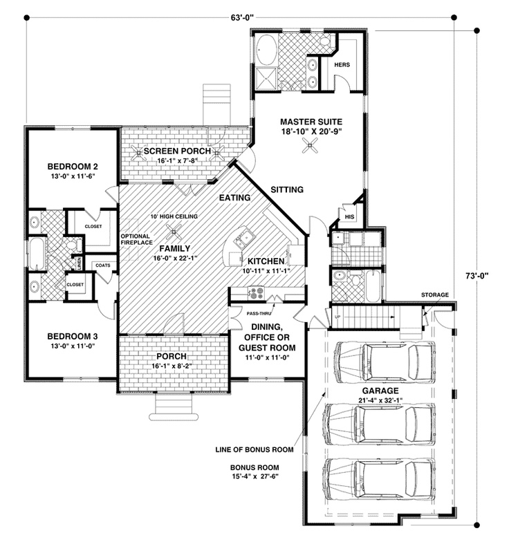 Open plan 3 bedroom with bonus room house plans pinterest Open space home plans