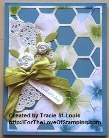 Mother's Day card featuring Watercolor Wonder DSP, Hexagon Hive Thinlit, Tea Laced Paper Doilies