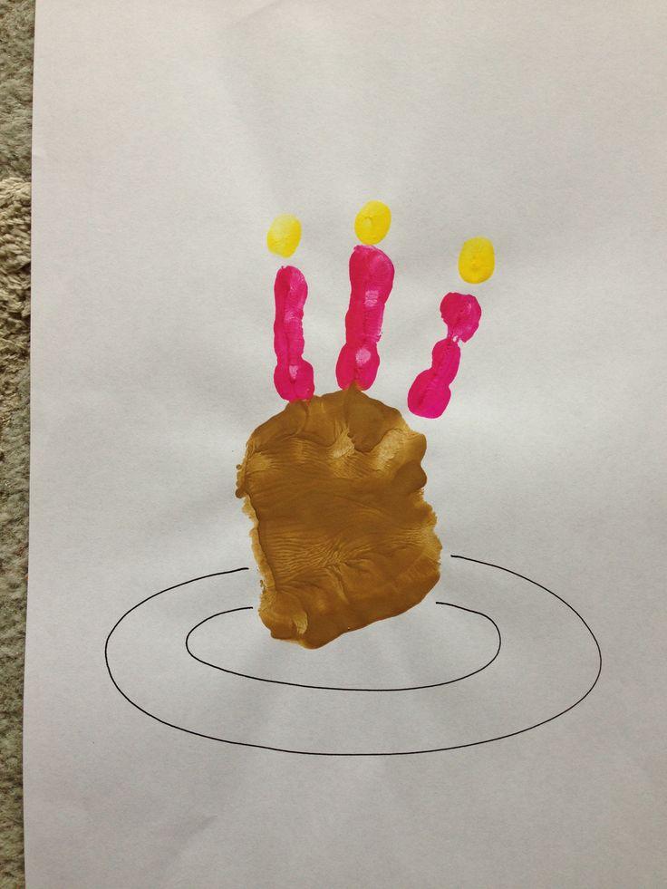 Birthday Cake Art And Craft : Kids Handprint birthday cake craft Activity.