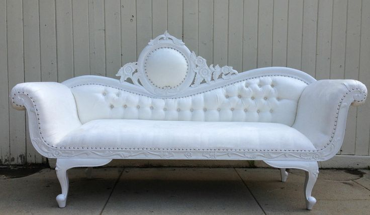 Hollywood regency white chaise lounge sofa loveseat rococo for 2 chaise lounges sofa