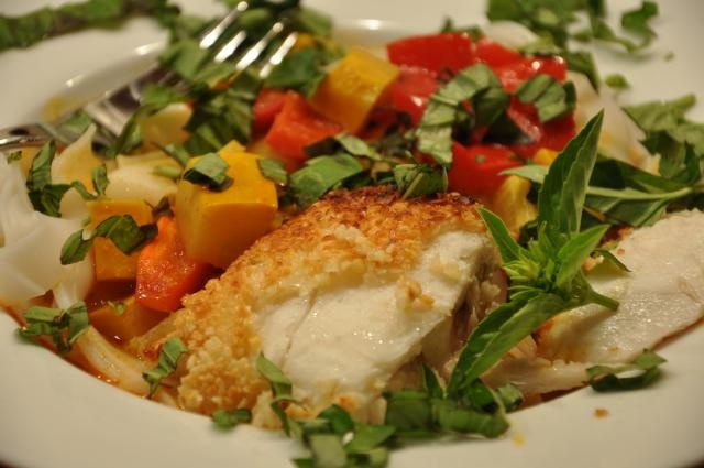Almond-Crusted Halibut with Vegetable Curry. Recipe by Bon Appetit ...