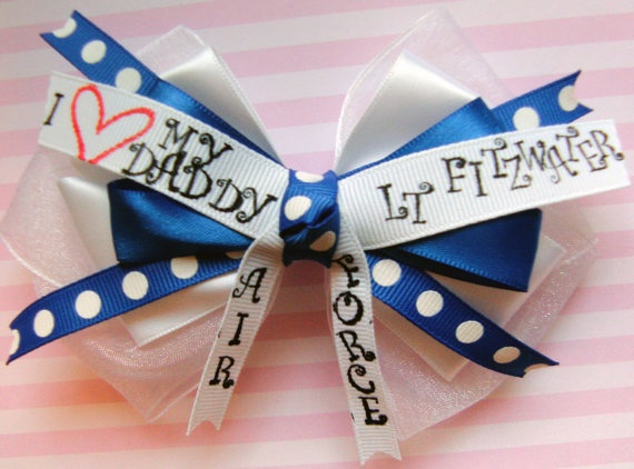 Made to order Air Force personalized hair bow by ChicBoutiqueBows, $6.00