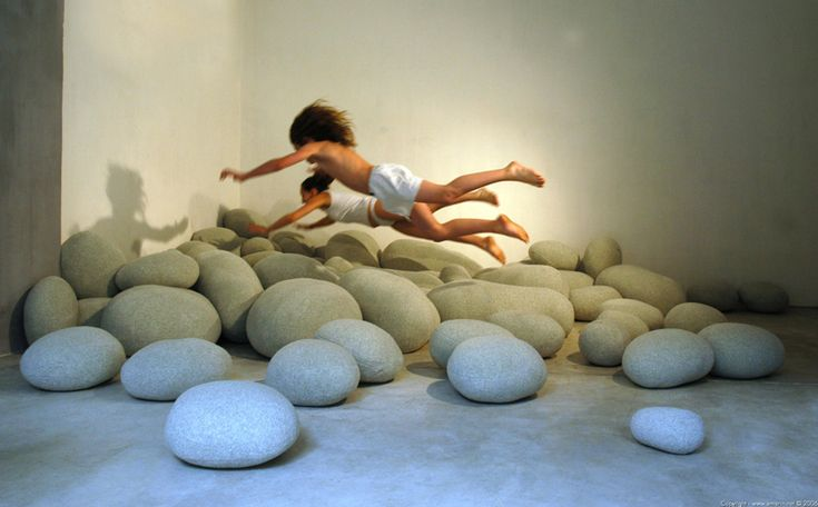 A useful rock garden for once... pillows made up to look like rocks!