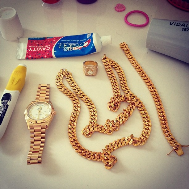 Gold Cuban Link bracelet and necklaceTyga Rolex Chain