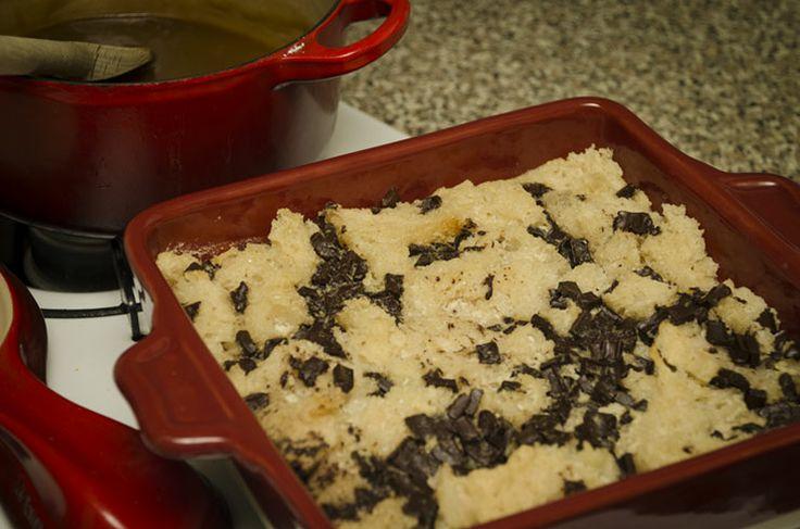 Chocolate caramel bread pudding vegan