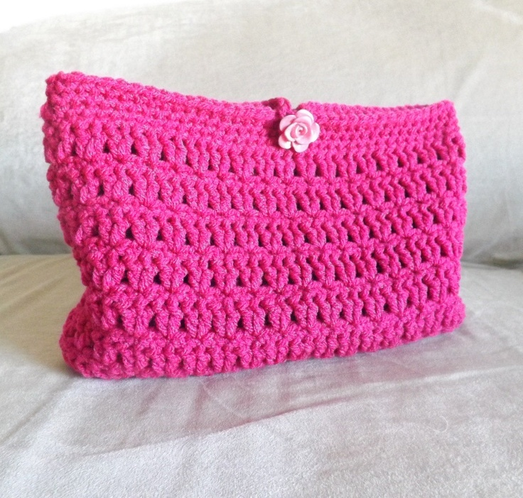 Crochet Mini Bag : Crochet hot pink make up bag, crochet mini bag, crochet cosmetic bag ...