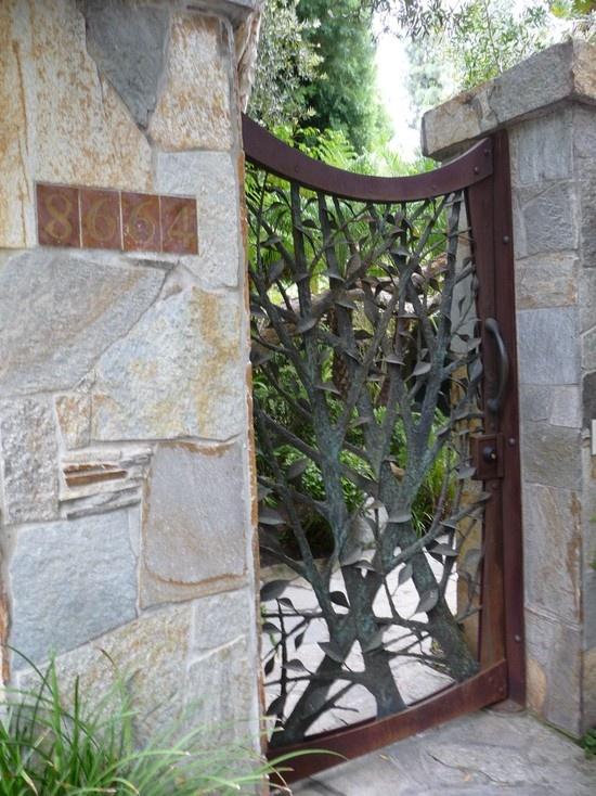Antique wrought iron gate iron art pinterest for Iron garden gate designs