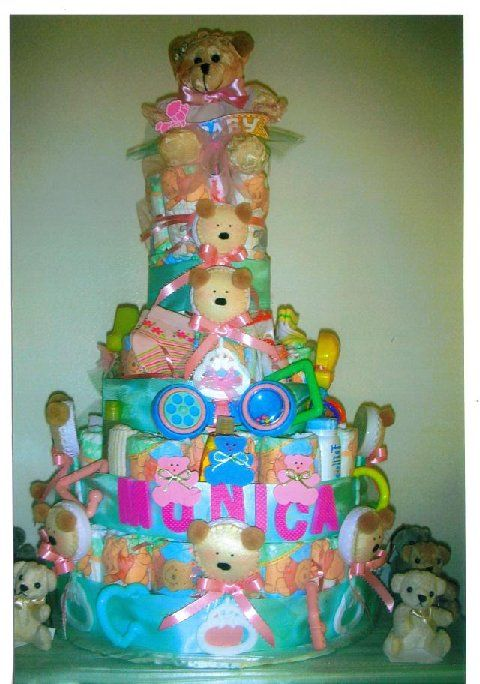 baby shower diaper cakes | Teddy Bear Baby Shower Favors and Diaper Cake!
