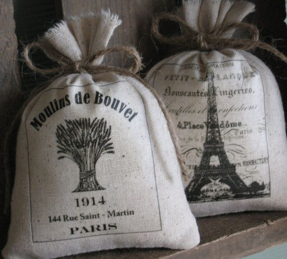 French, Lavender Sachets, Eiffel Tower, Paris, French Country, Set of ...