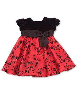 Rare editions baby dress baby girls red and black holiday dress