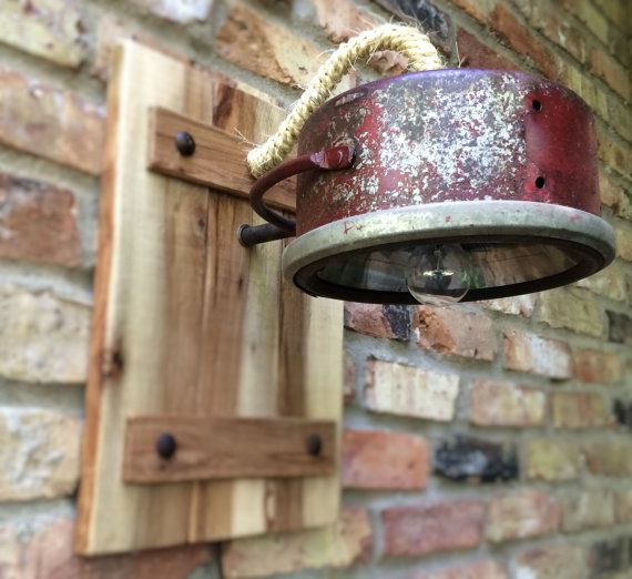Rustic Industrial Wall Sconces : Industrial Lamp Light Rustic Wall Sconce by RareRusticRelics, USD 79.00